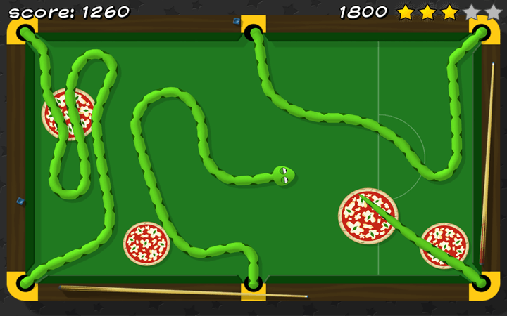 Pizza Snake screenshot - Level 6: Snooker